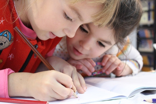 kids drawing with pencil