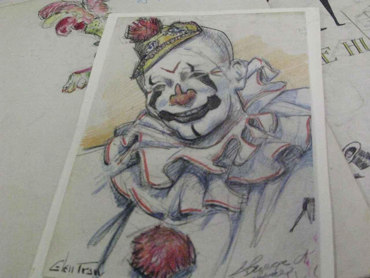 Sketch of a clown in makeup