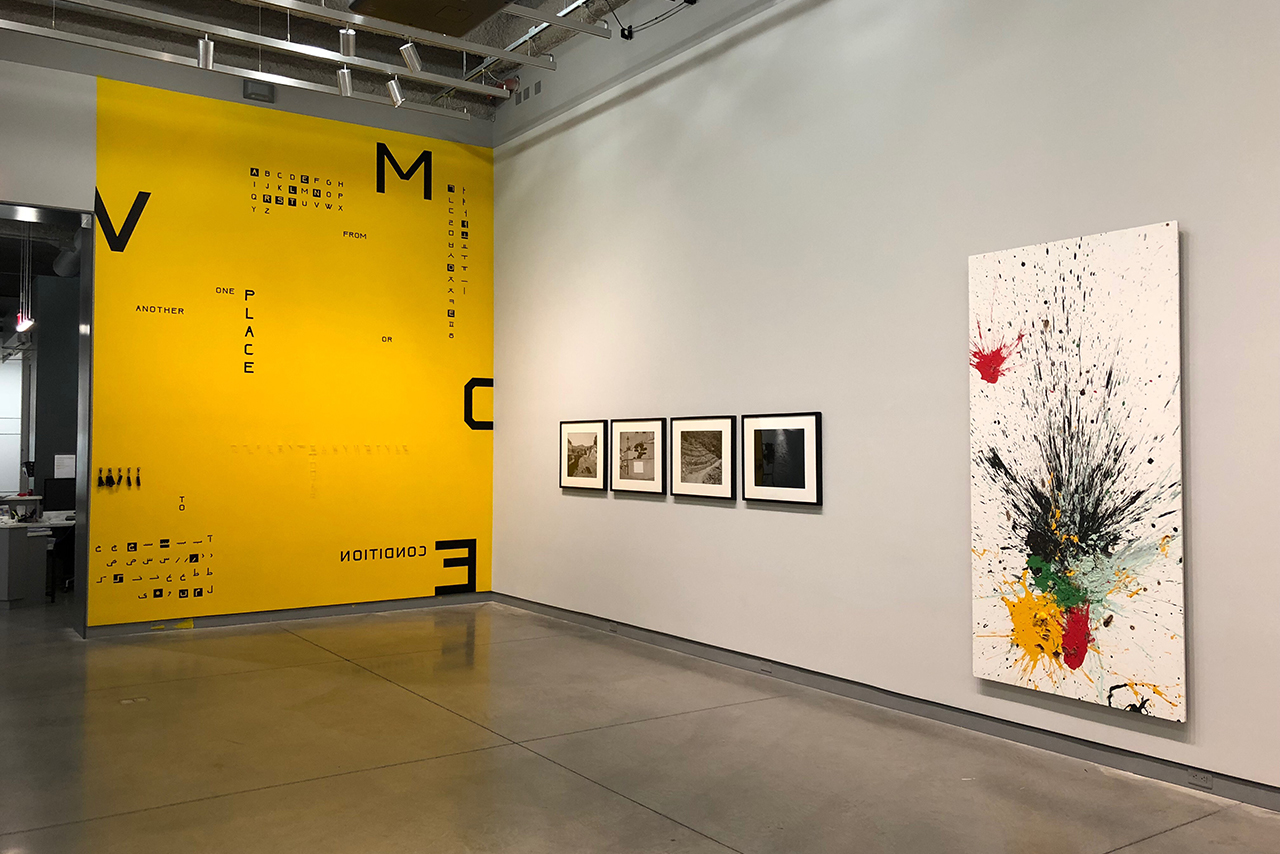 Installation view of 2018 Faculty Biennial at University Galleries. From left to right: collaborative work by Alice Lee and Ladan Bahmani; Jason Reblando; John Miller.