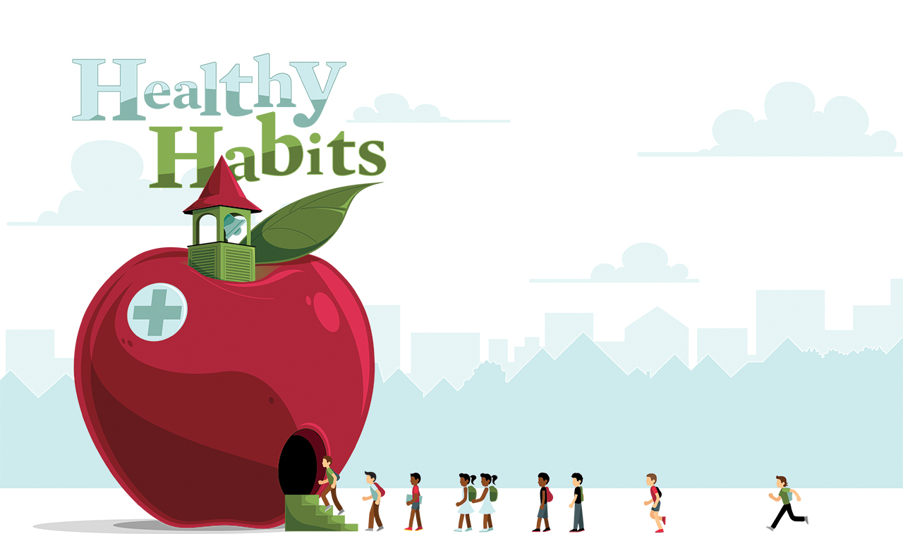 Health Habits illustration with students walking into a school shaped like an apple