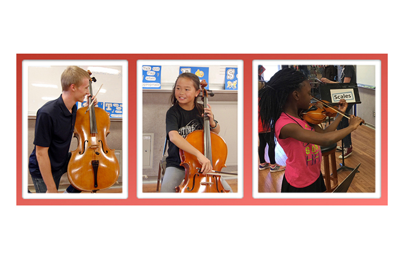 Three images of children performing on stringed instruments, learning from one of the music majors who act as instructors in the String Project program.