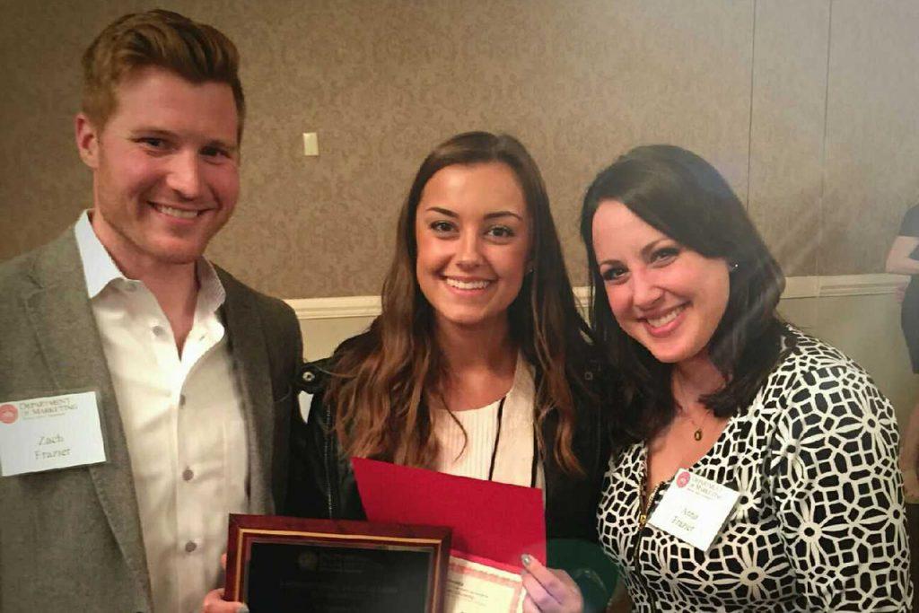 Zach and Anna Frazier with scholarship recipient Alexa Mirandola.