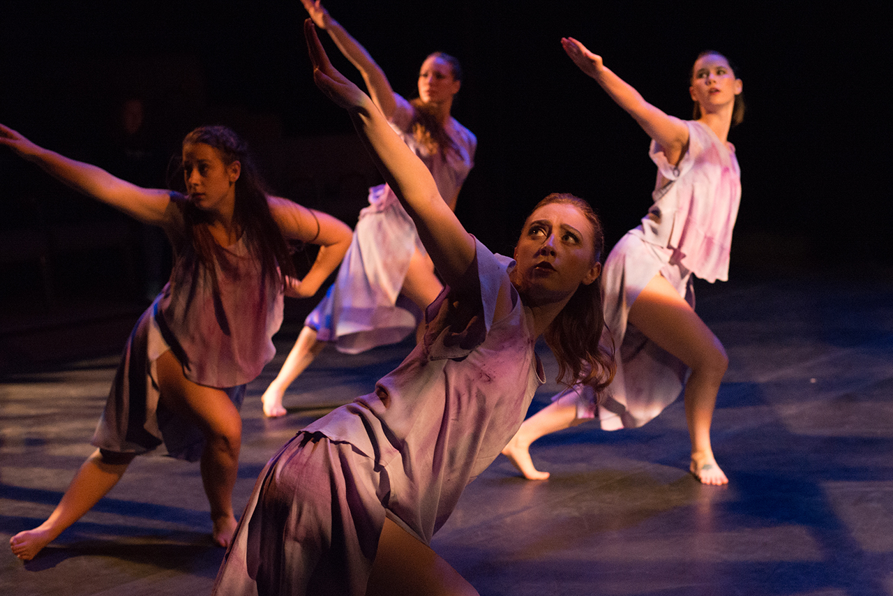 Image of dancers performing a piece from the 2017 Spring Dance Concert