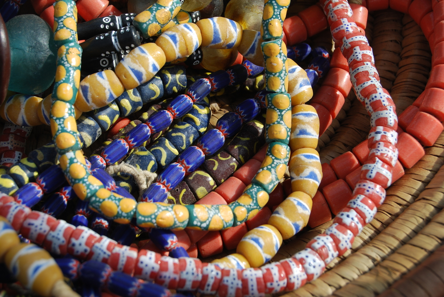strings of beads laced together