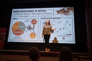 Kristin Duffield won first place at the Three Minute Thesis competition