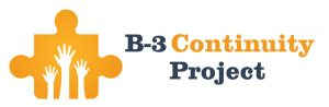 B-3 Continuity Project with puzzle piece symbol with three children's hands reaching high