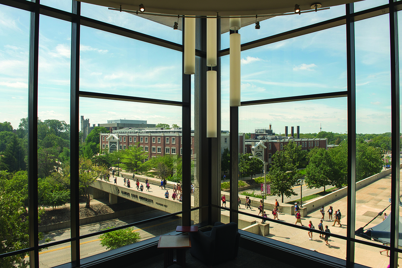 the view from inside Milner Library, looking out into the ISU Quad