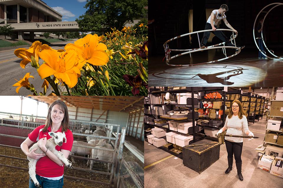 collage of photos: ISU bridge, circus performer, woman holding lamb, woman holding sword