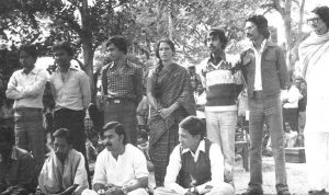 Ali Riaz as a student with other students in the 1970s black and white photograph