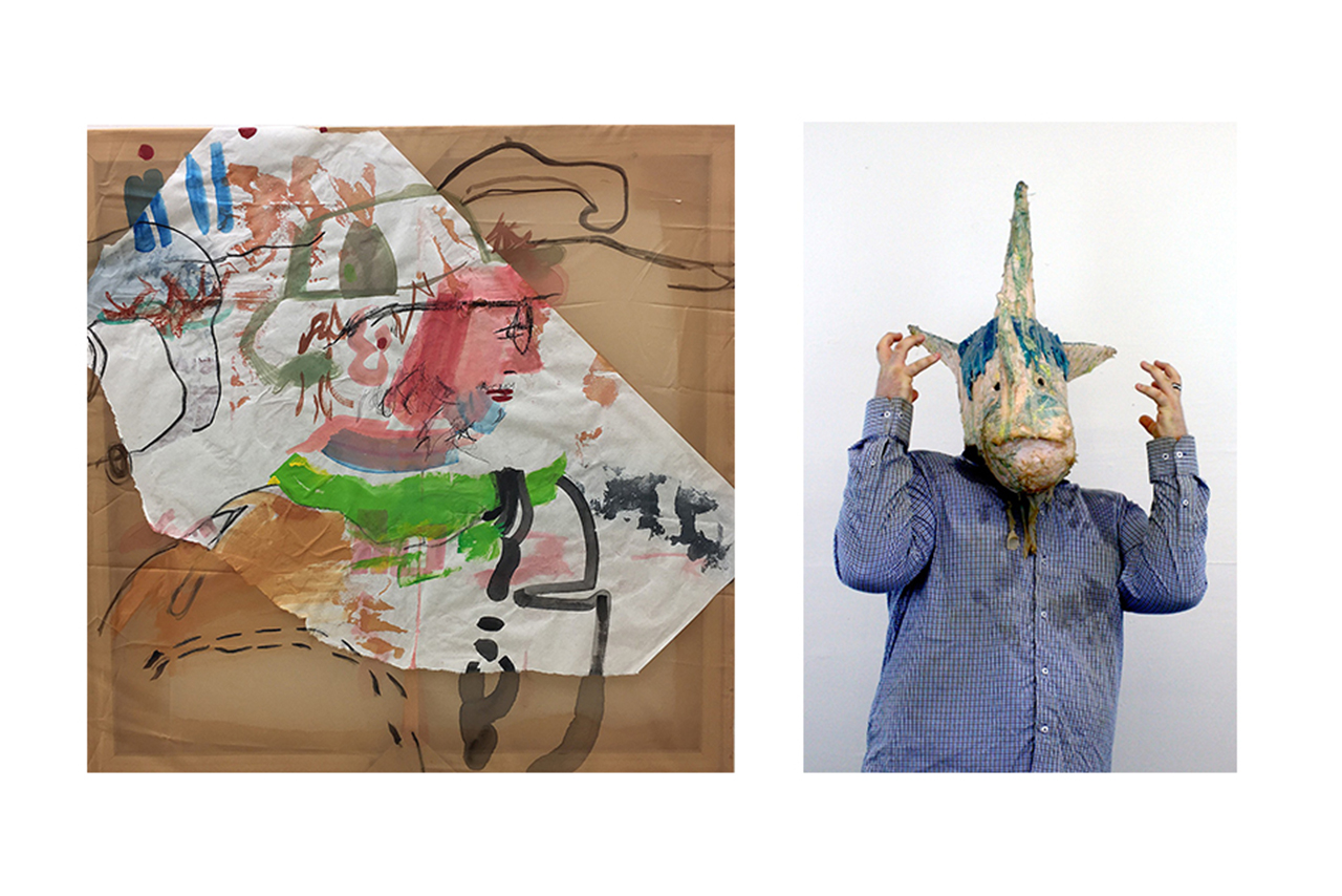 """Marshall Dulaney Pitcher Award winners: (Left) Alissa Palmer, He Named it """"We're Passing Firework Territory."""" (Indiana), 2017. Acrylic, charcoal, and paper on polyester. (Right) Josh Roach, Mr. Unicorn, 2017."""