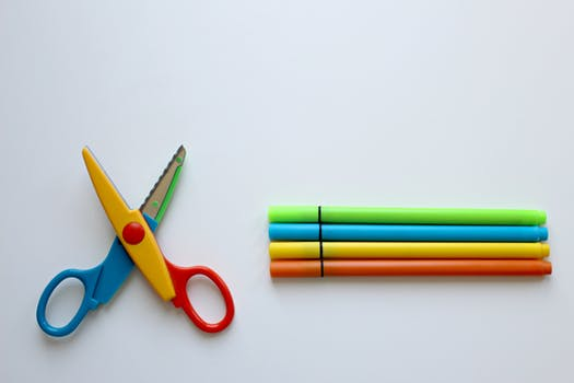 scissors and markers