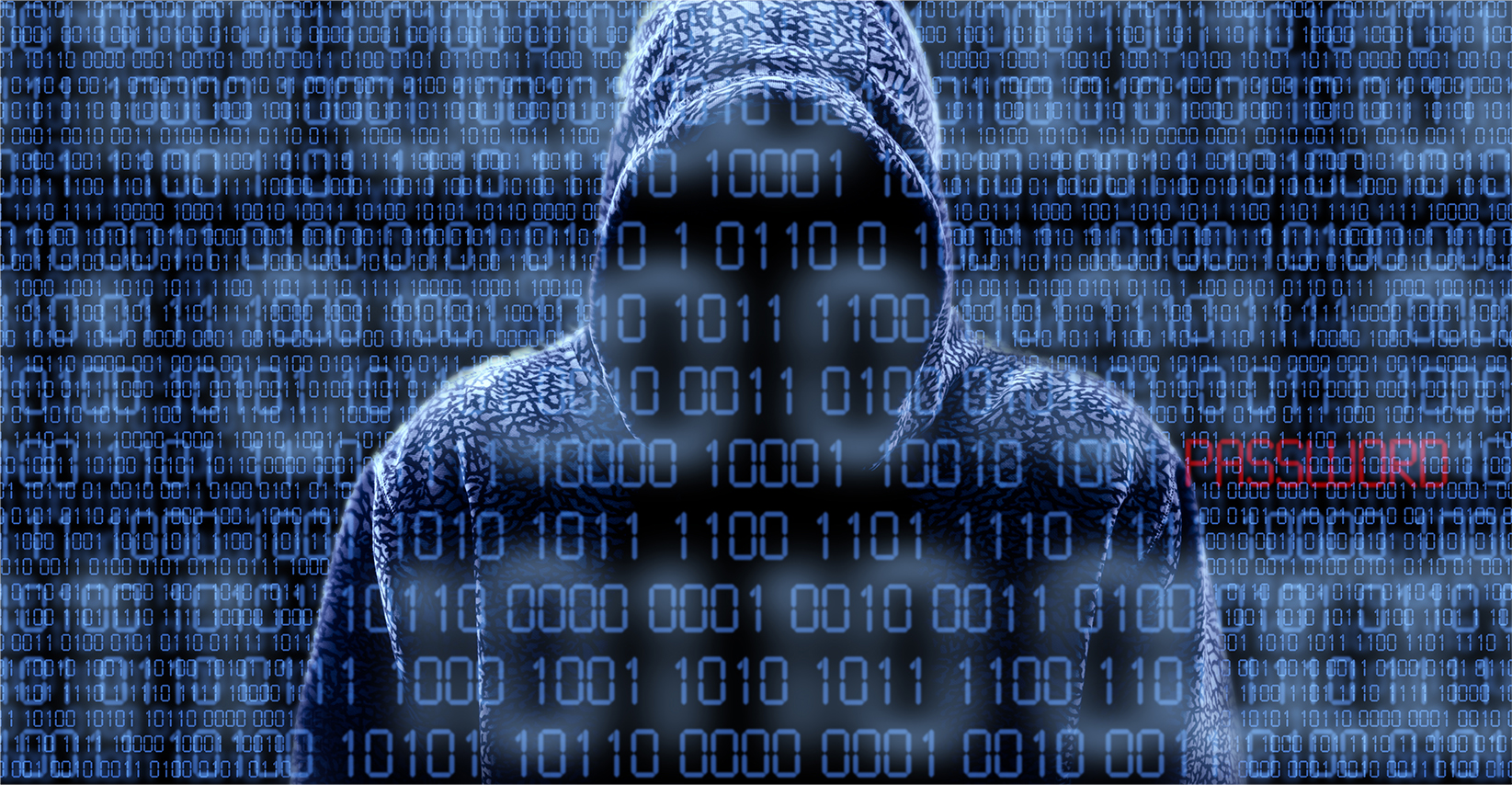 Silhouette of a hacker isloated on black — Stock Photo Silhouette of a hacker isloated on black with binary codes on background