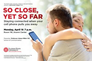 """Poster for """"So Close and Yet So Far"""" talk by Professor Aimee Miller-Ott that will be April 14 at 7 p.m. at the Alumni Center."""