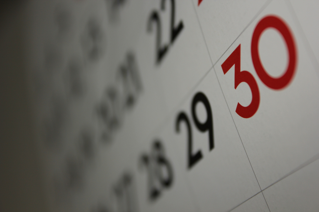 close-up of a calendar with dates blurred