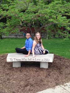 Brandon and Rebecca Olson on the love bench