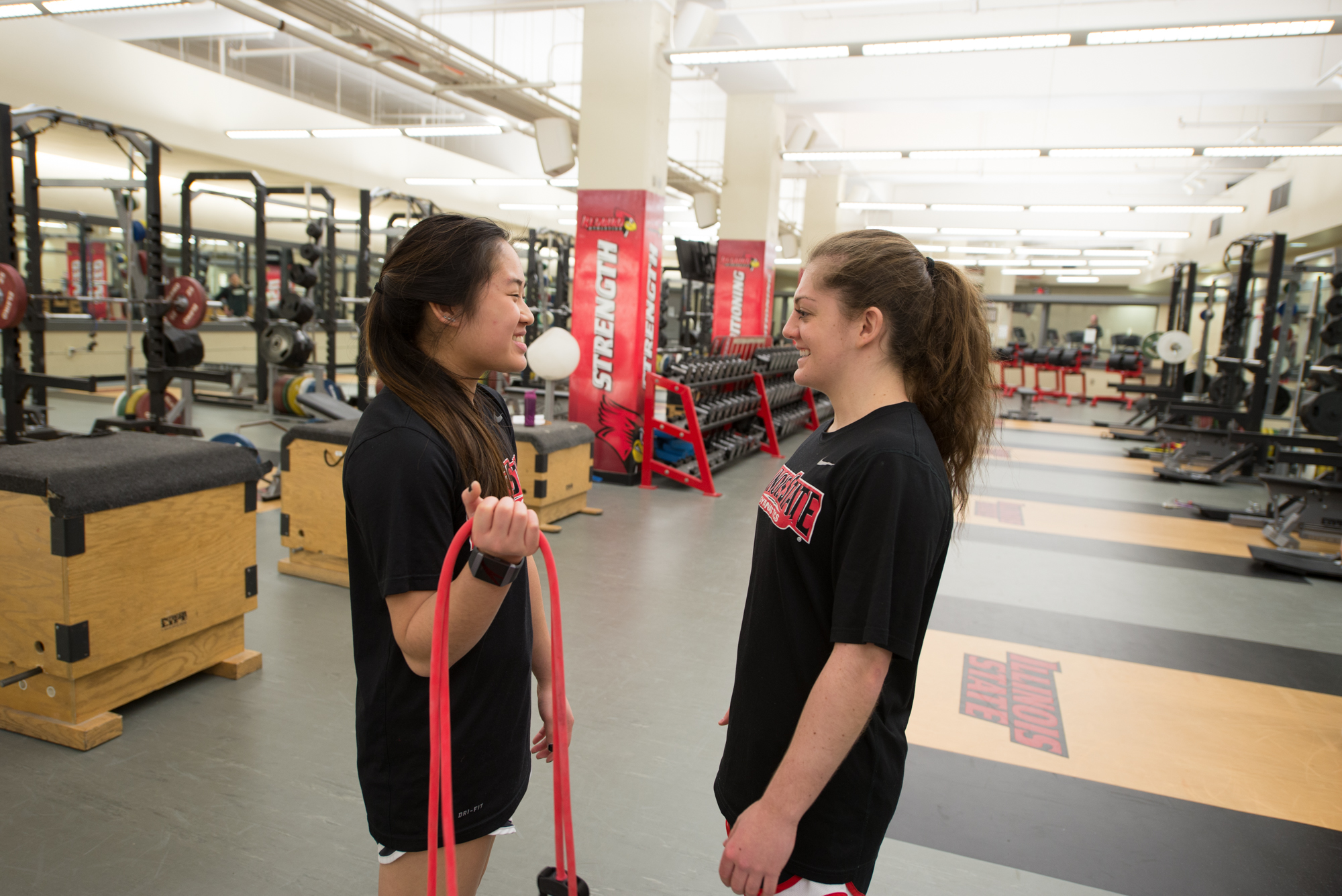 Kennadi LeDoux and Alyssa Wiggle in the Owen Strength and Conditioning Center