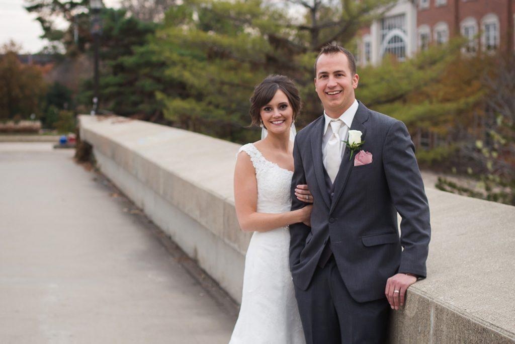 Stefani Rudd and Bryan Concannon in wedding attire at Illinois State