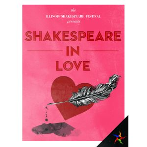 Performances for <I>Shakespeare in Love</I> run July 19 through August 11 2018. Heart with feather pen over it