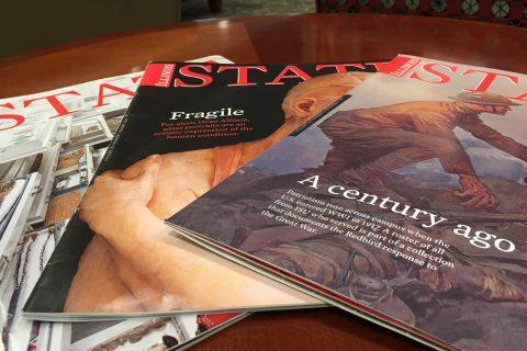 Three copies of Illinois State alumni magazine with type showing A Century Ago