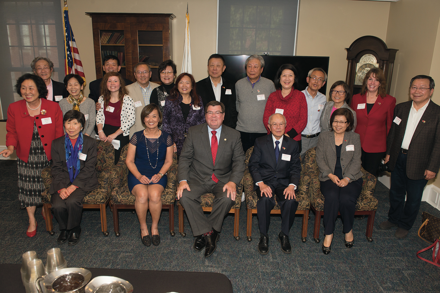 It was a joyful occasion when nearly two dozen alumni from Taiwan had the opportunity to meet with President Larry Dietz last fall. The group posed for a photo with the president in Hovey Hall.