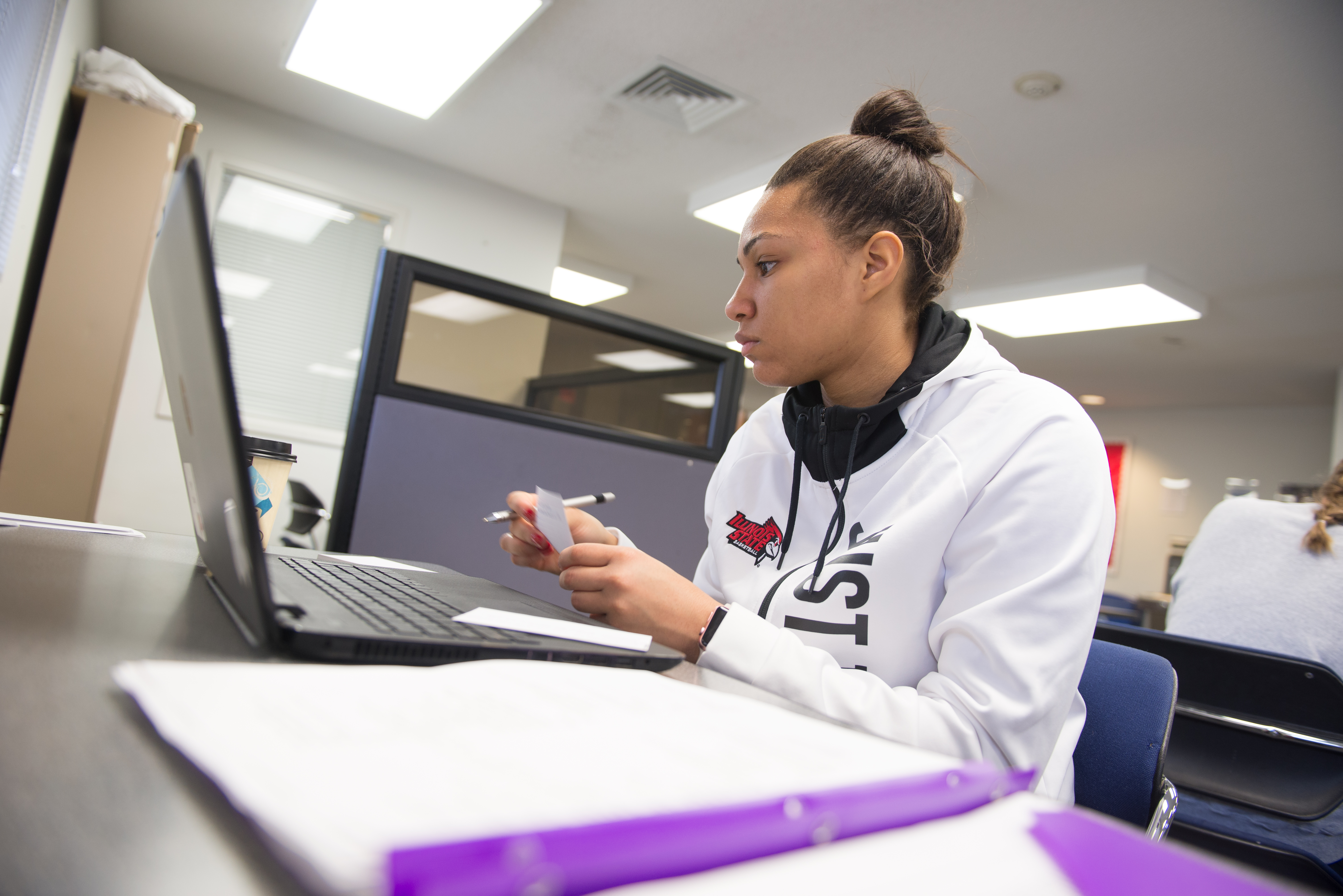 Student studying on the computer