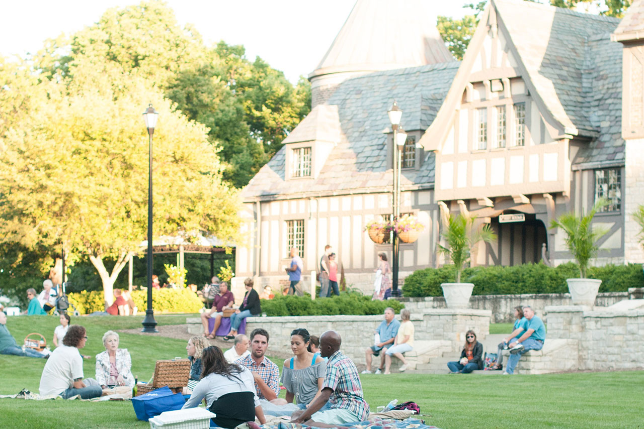 Picnicking on the grounds of Ewing Manor prior to an Illinois Shakespeare Festival performance is a summer favorite.