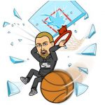 cartoon man slam dunking basketball