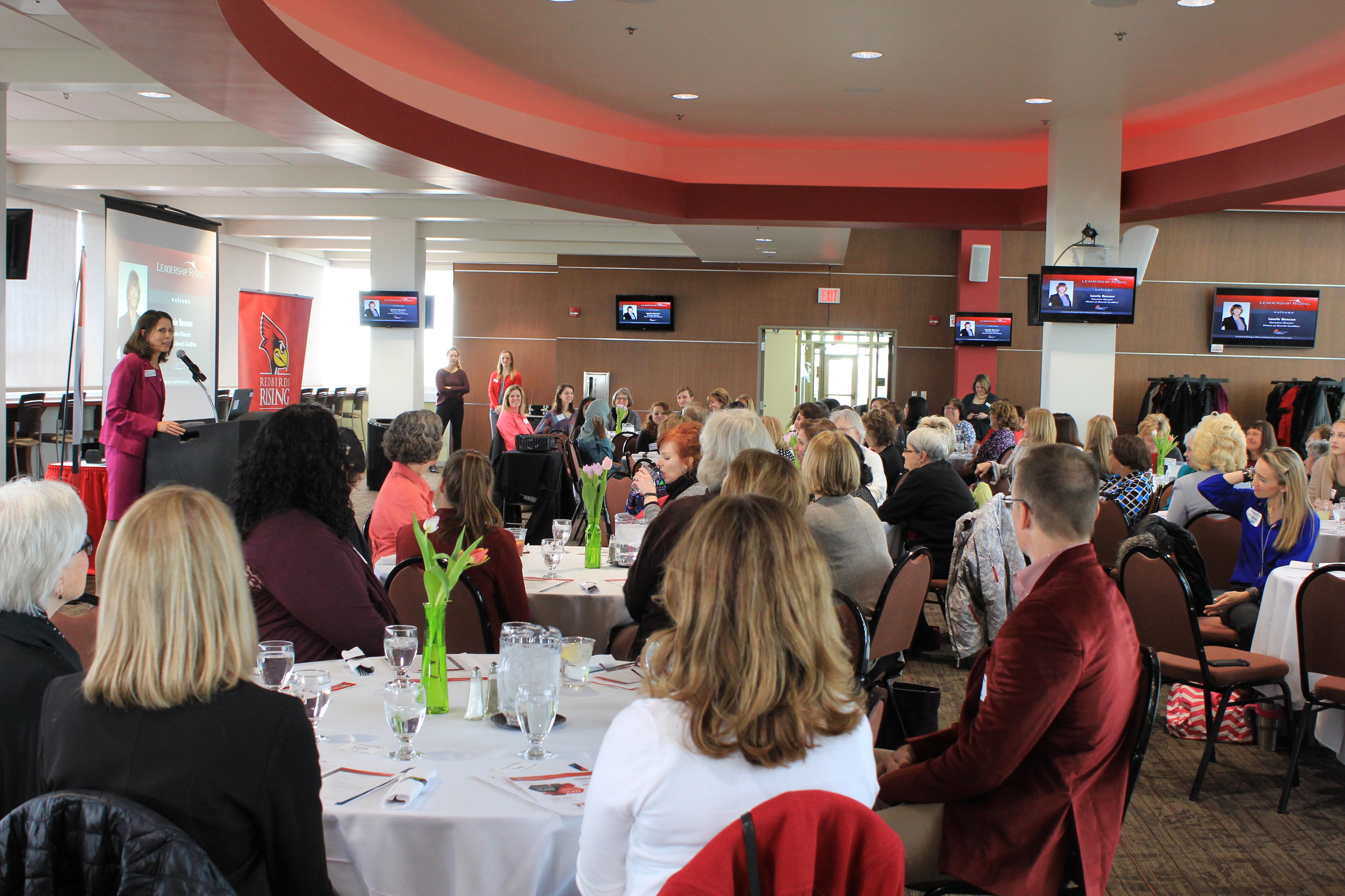 Dean Neubrander speaks at MCN's Leadership Rising Luncheon.