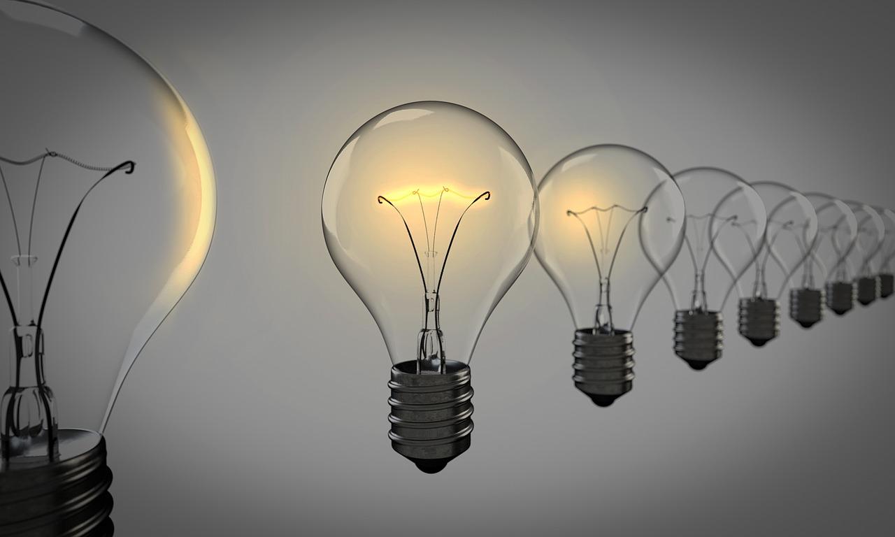 light bulbs in a line
