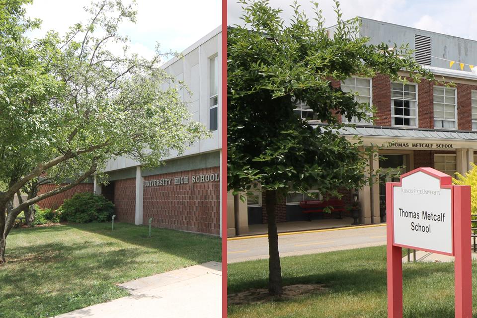 University High School (left) and Thomas Metcalf School.