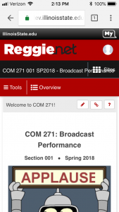 screen shot of the new ReggieNet: Reggienet Com 271 001 SP2018 Broadcast Performance Section 001 Spring 2018 Applause Tools Overview