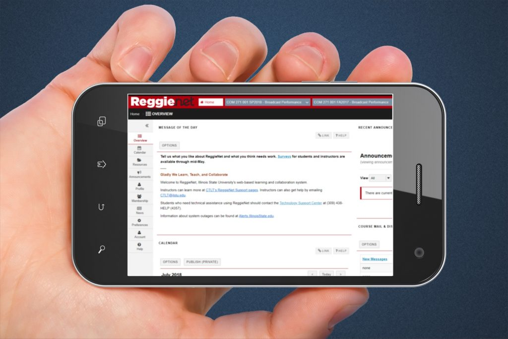 Hand holding a smart phone with ReggieNet on the screen