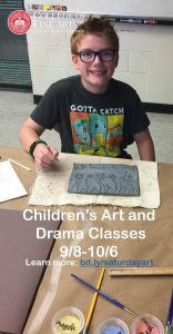 Image of student using clay, ad for Saturday Morning Creative Art and Drama Classes showing dates and link to registration.