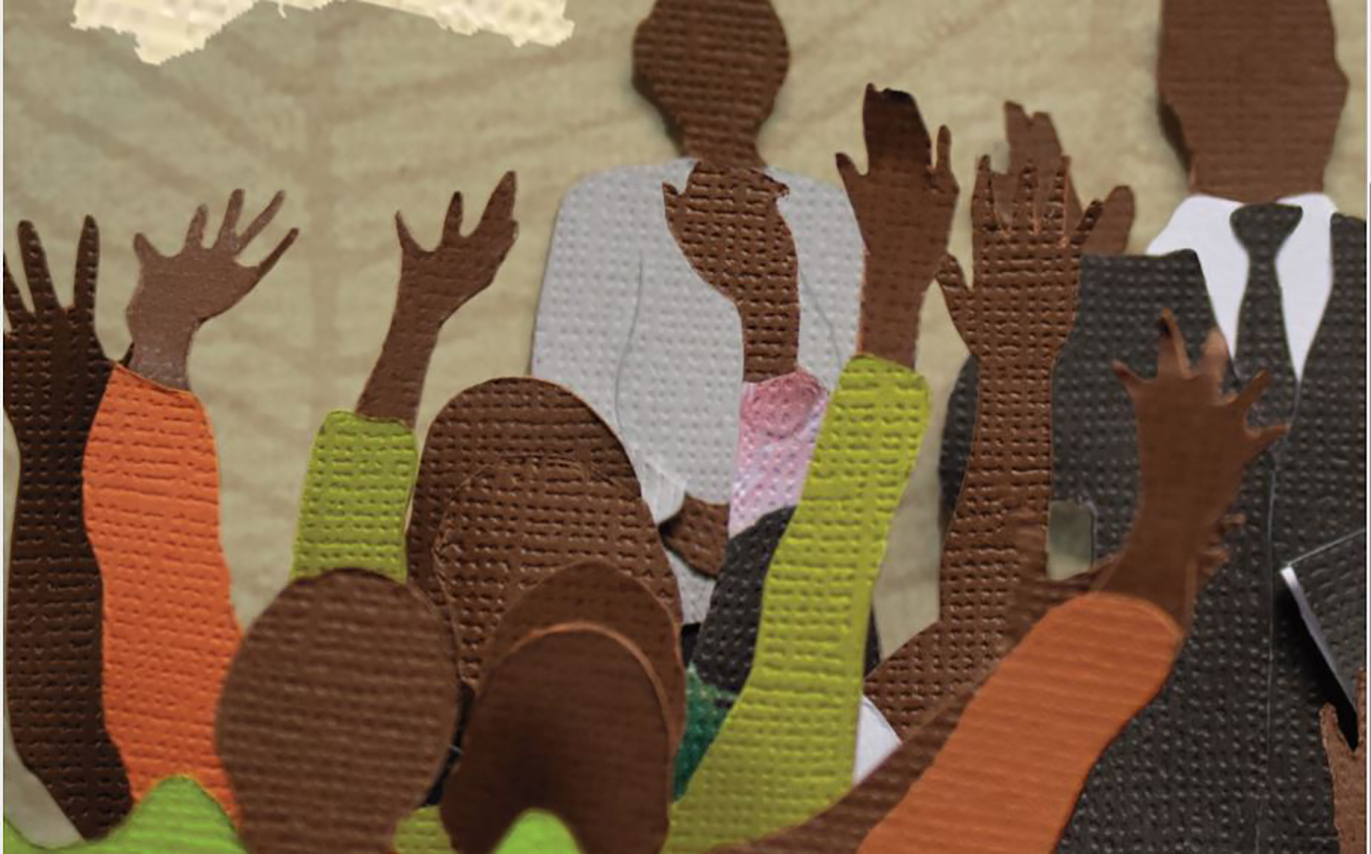 cut-outs of crowd of people with raised arms