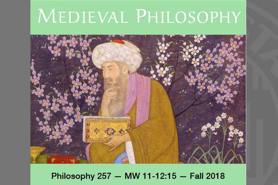 book cover with the word Medieval Philosophy on the cover with a drawing of an philosopher