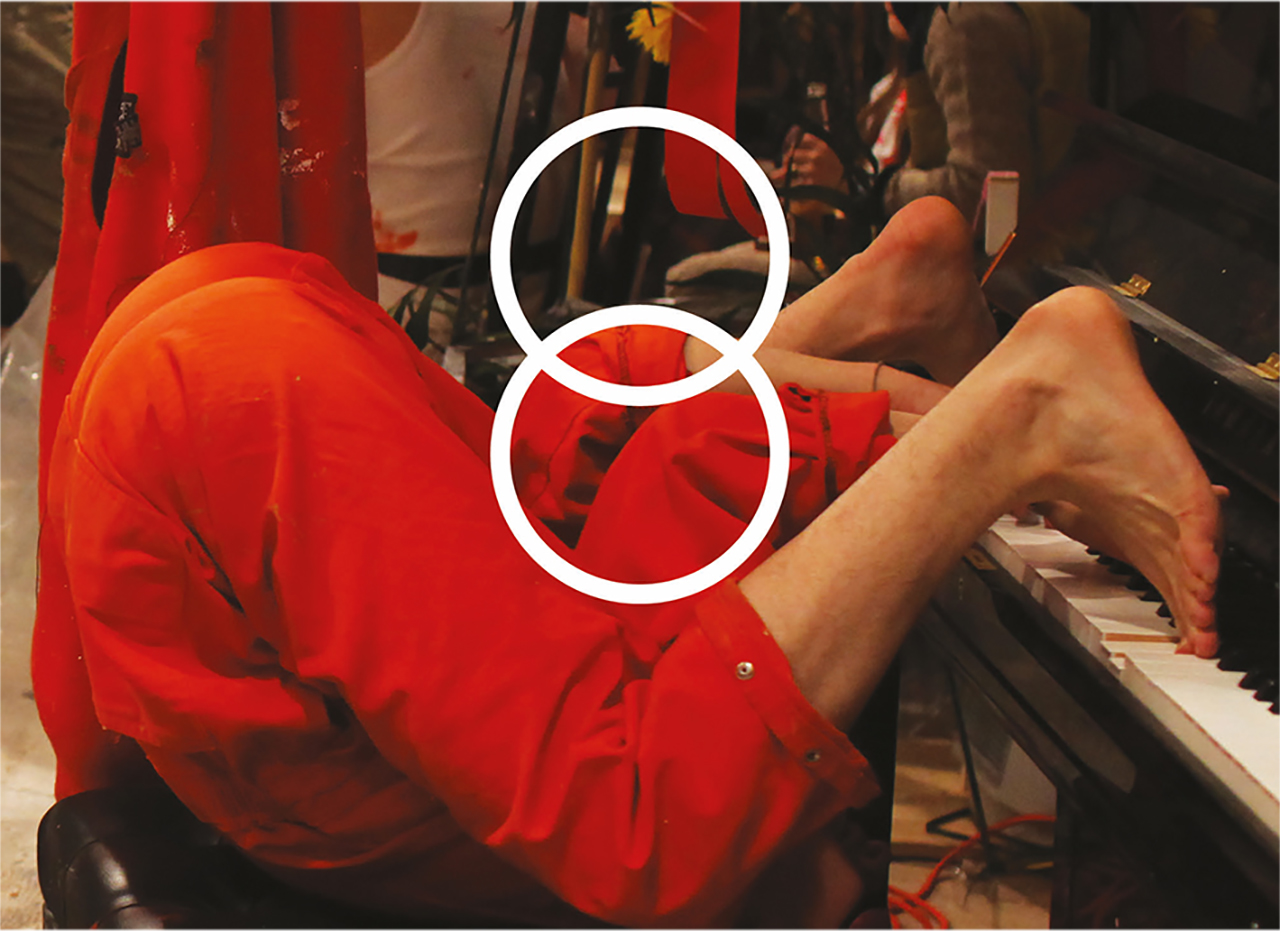 Part of a Cover of the book Across the Art/Life Divide: Performance, Subjectivity, and Social Practice in Contemporary Art by Martin Patrick with a man seated on his head with feet up on a piano