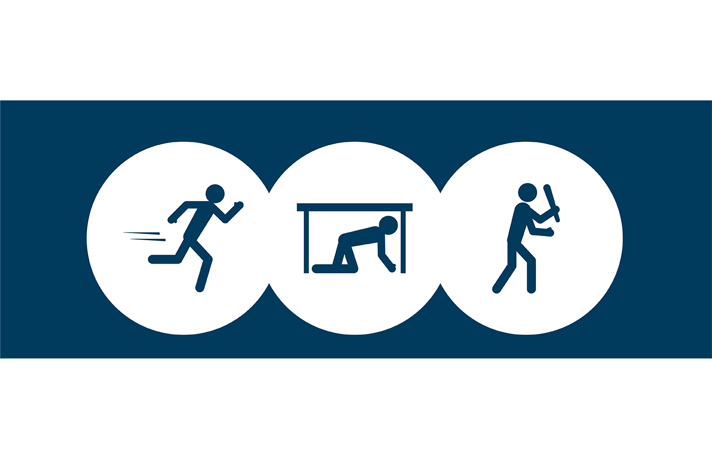 stick figures showing run, hide, fight for active shooting emergency drill