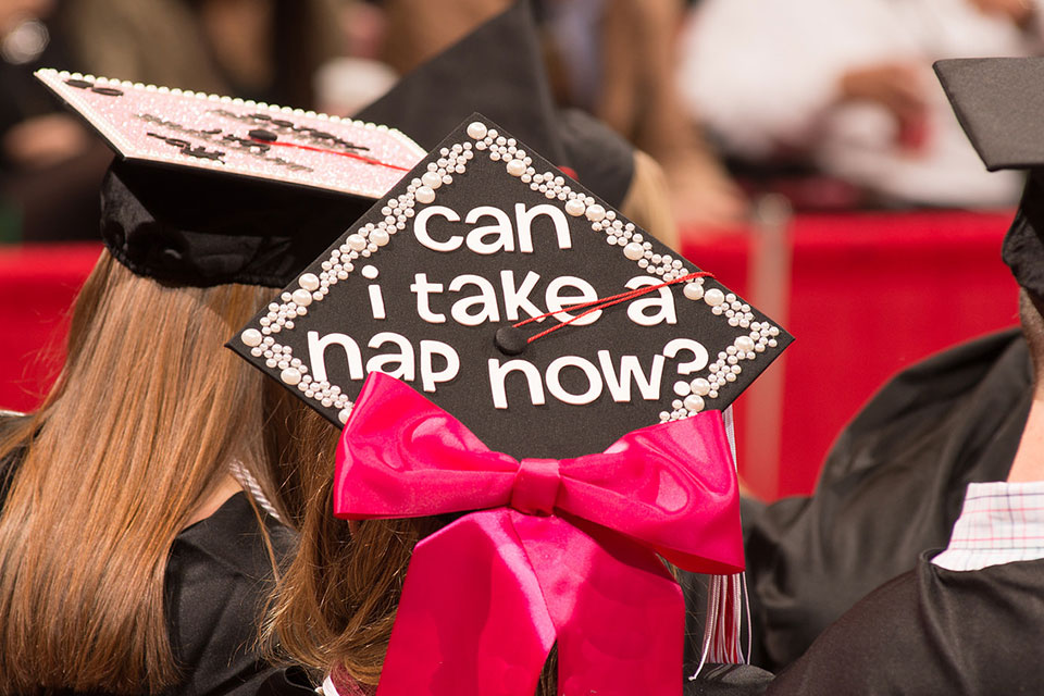 """graduation cap with funny saying """"Can I Take a Nap Now?"""""""