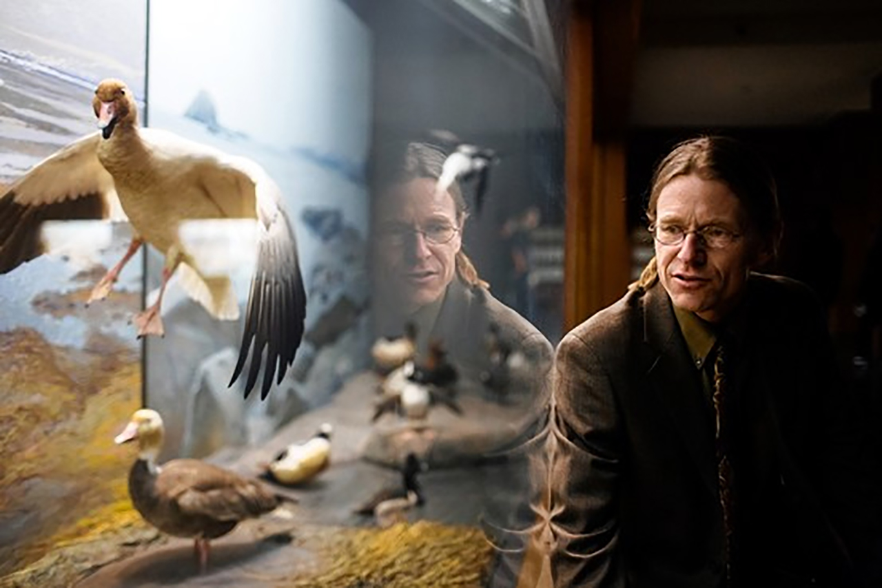 Thor Hanson sits in front of a glass-encased exhibit with a stuffed bird looking in flight