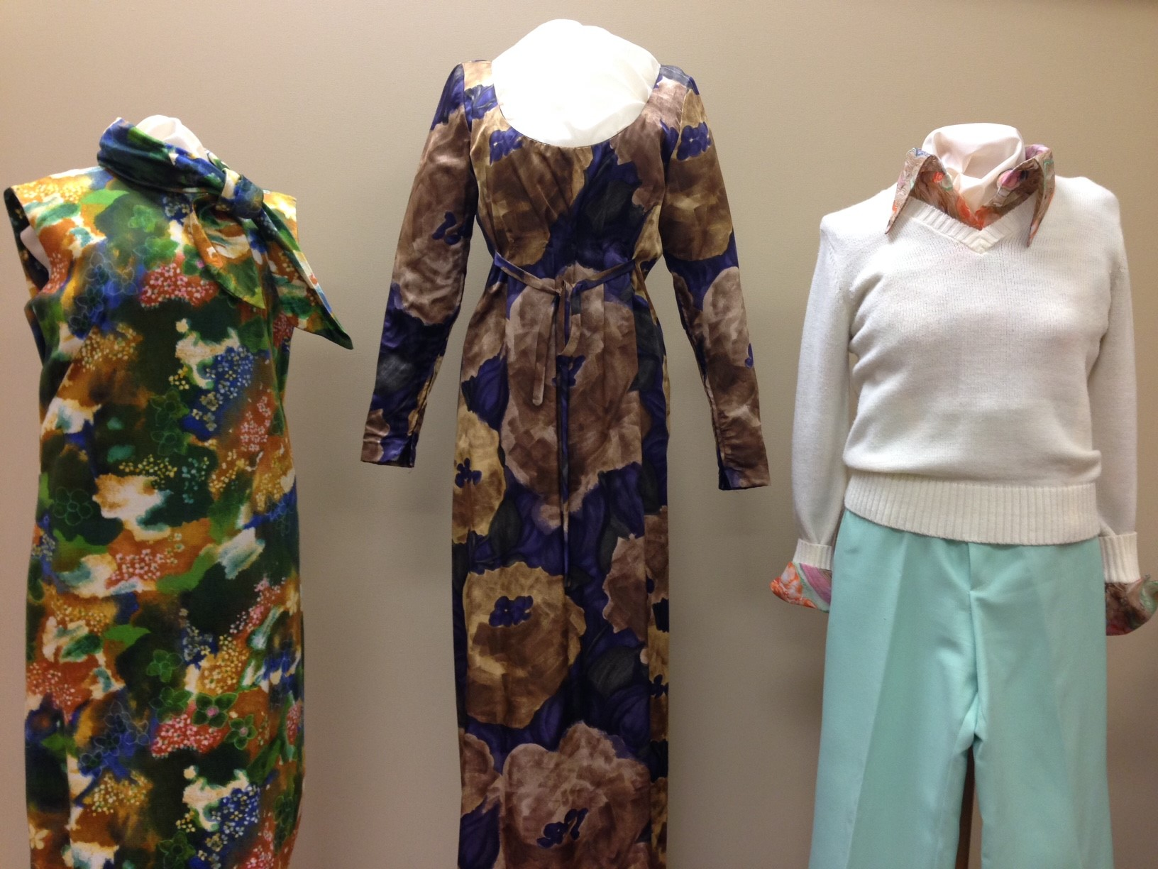 Garments on exhibition in the Lois Jett Historic Costume Collection gallery