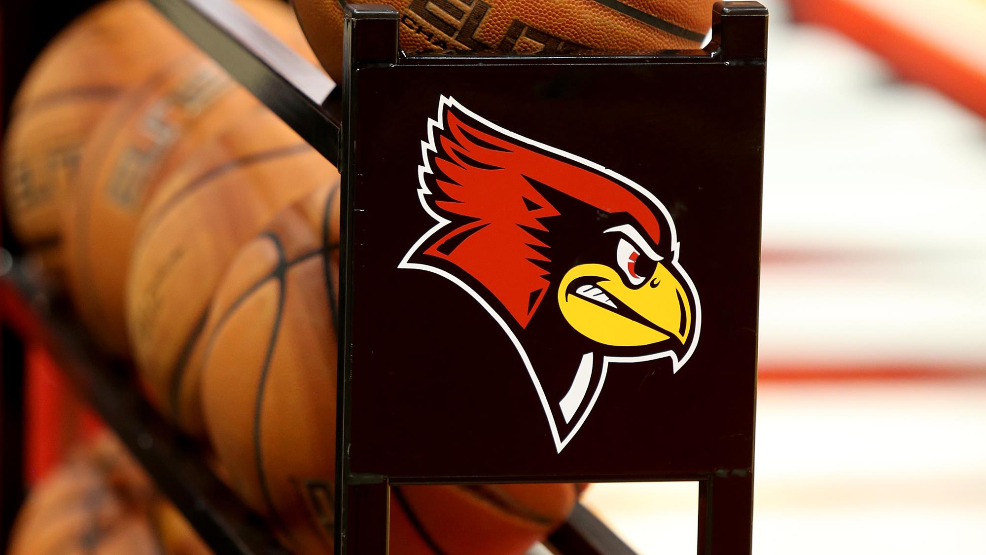 Redbird basketball rack with Redbird logo overlaid