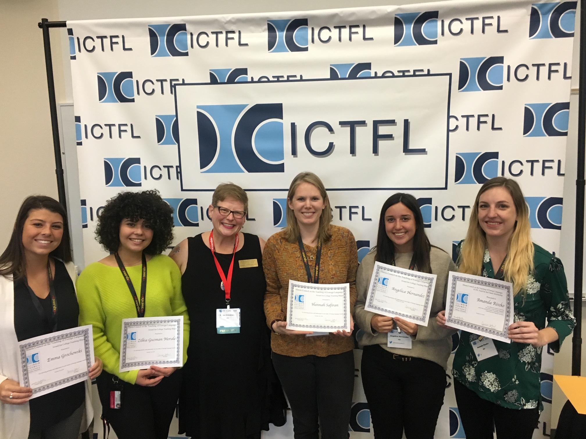 Emma Grochowski (left), Zilkia Guzmán Morales,Hannah Safiran, Angelica Hernandez, and Amanda Riszko, were all recipients of the award. Professor Susan Hildebrandt is third from left.
