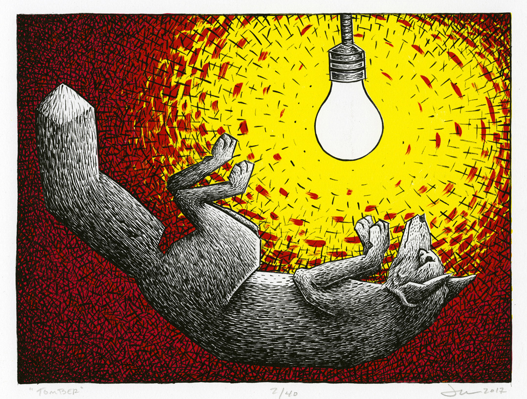 Fox under a light bulb red backgroundTomber (2017) by Jason Walker. The three-color lithograph is currently on display at Milner Library.