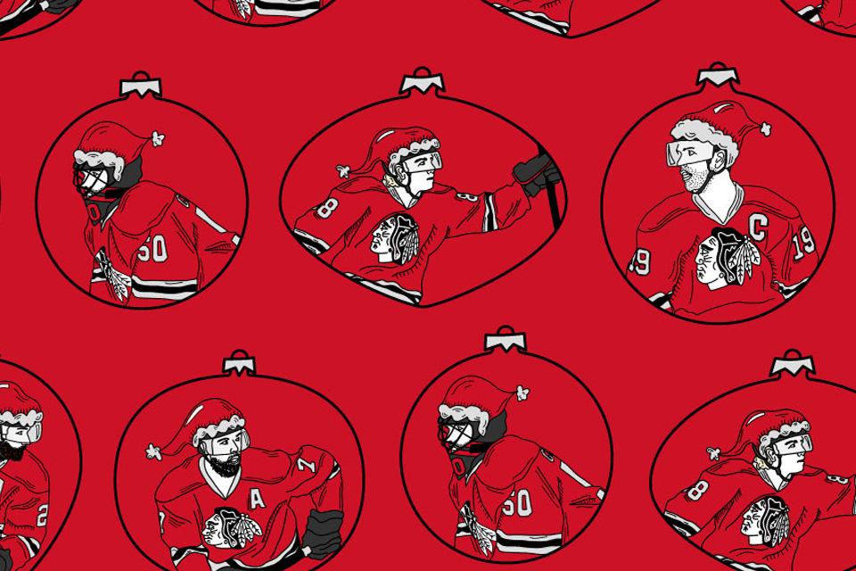 Ornament collage with hockey player faces