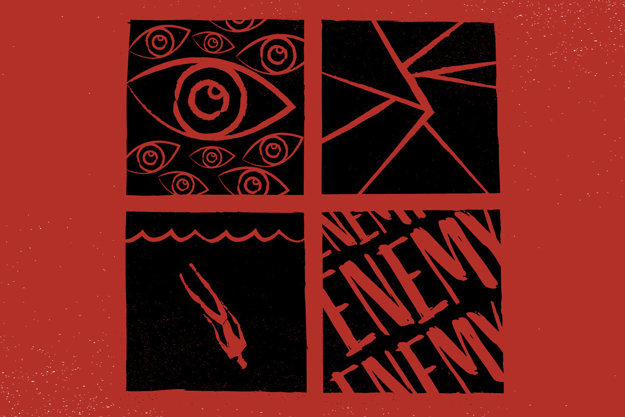 "Image from the production poster, four images in squares on a red background. Top left image is of multiple eyes; top right image appears to be a crack in a wall or ground; bottom left appears to be a person drowning; bottom right is the word ""Enemy."""