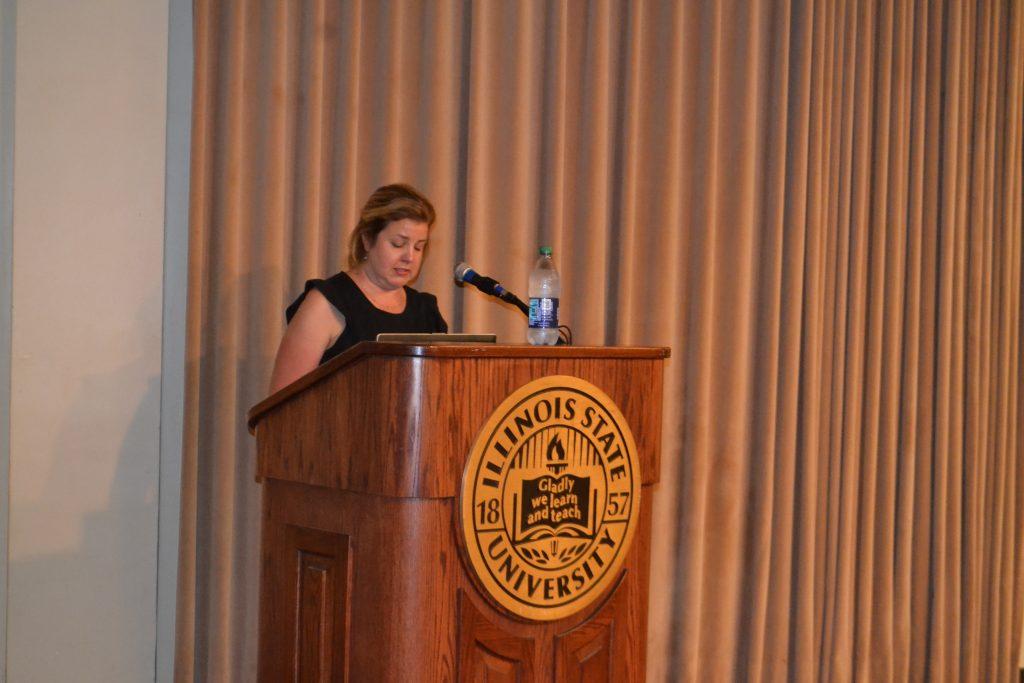 Julie Webber at the podium