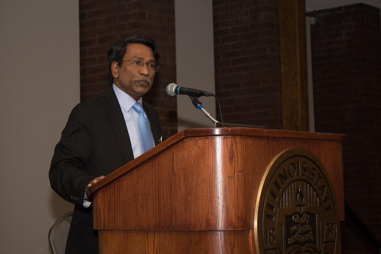 Ali Riaz at the podium