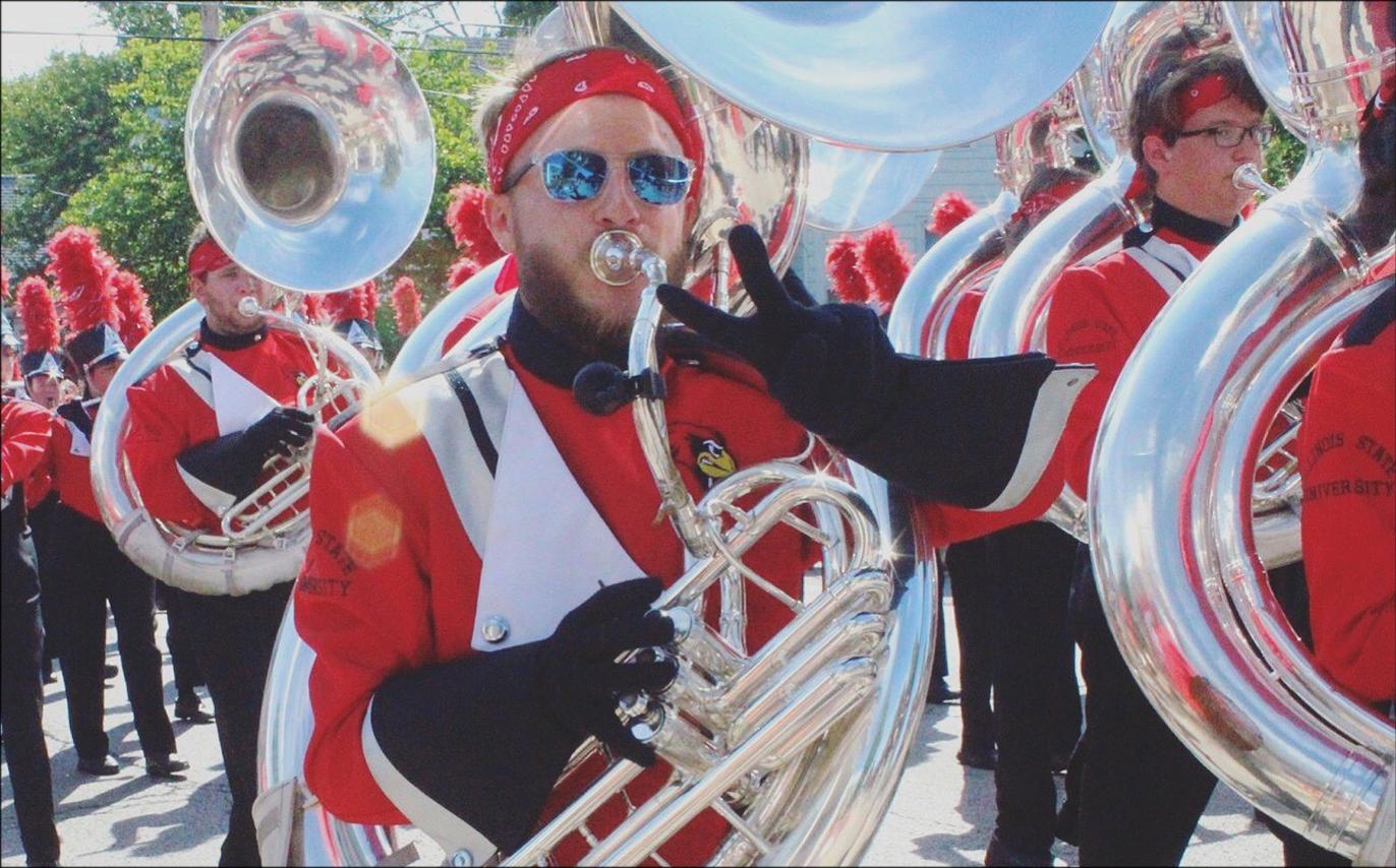 image of Zimmerman playing the tuba