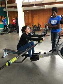 Fochesatto on rowing machine