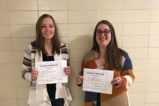 Terra Rumer and Patty Fountain receive ISOPHE scholarship certificates